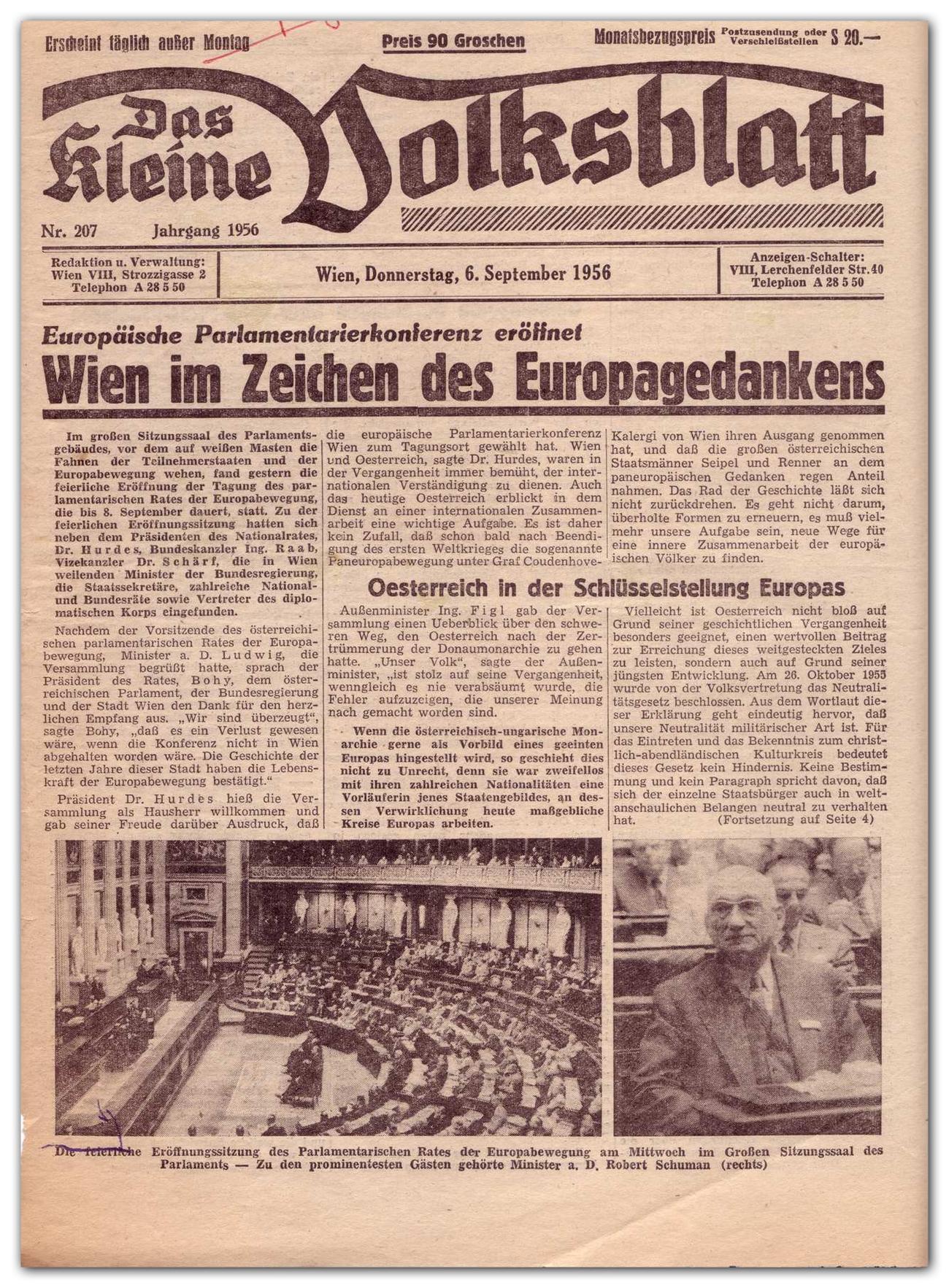 Front page of the Austrian daily newspaper Das Kleine