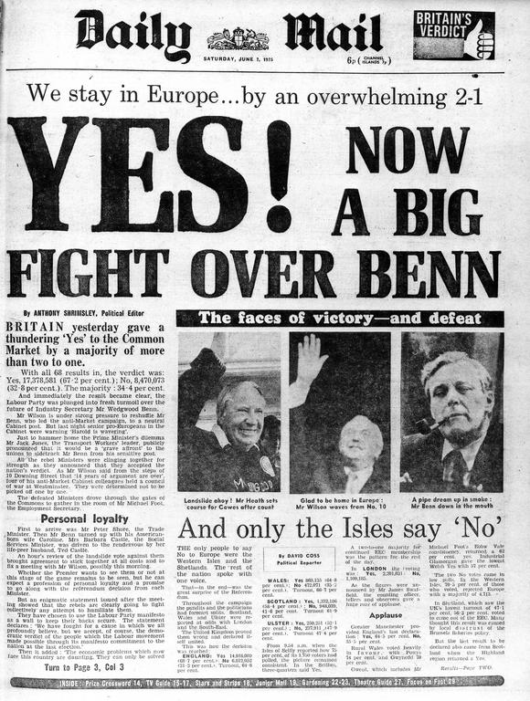 The front page of the British daily newspaper <i>Daily Mail</i> (7 June 1975)