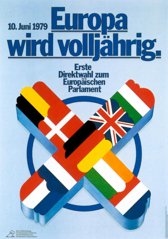 German poster for the first direct elections to the European Parliament