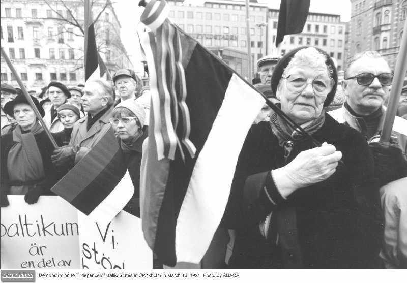 Demonstration for the independence of the Baltic States (Stockholm, 18 March 1991)