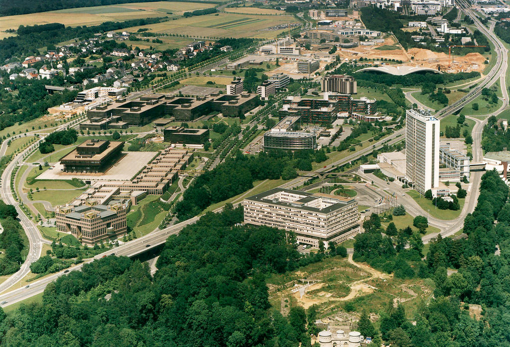 Aerial view of EU buildings in Luxembourg