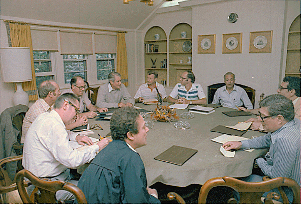 US, Egyptian and Israeli delegations at Camp David (12 September 1978)