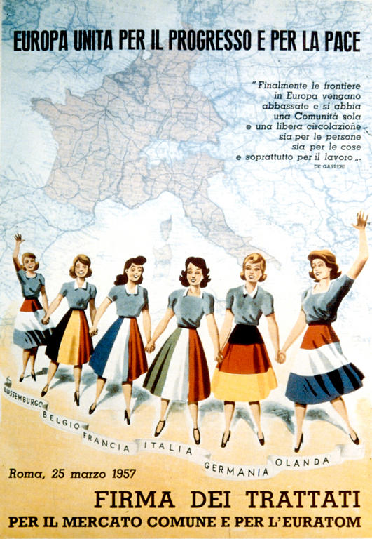 Poster publicising the signing of the Rome Treaties (1957)
