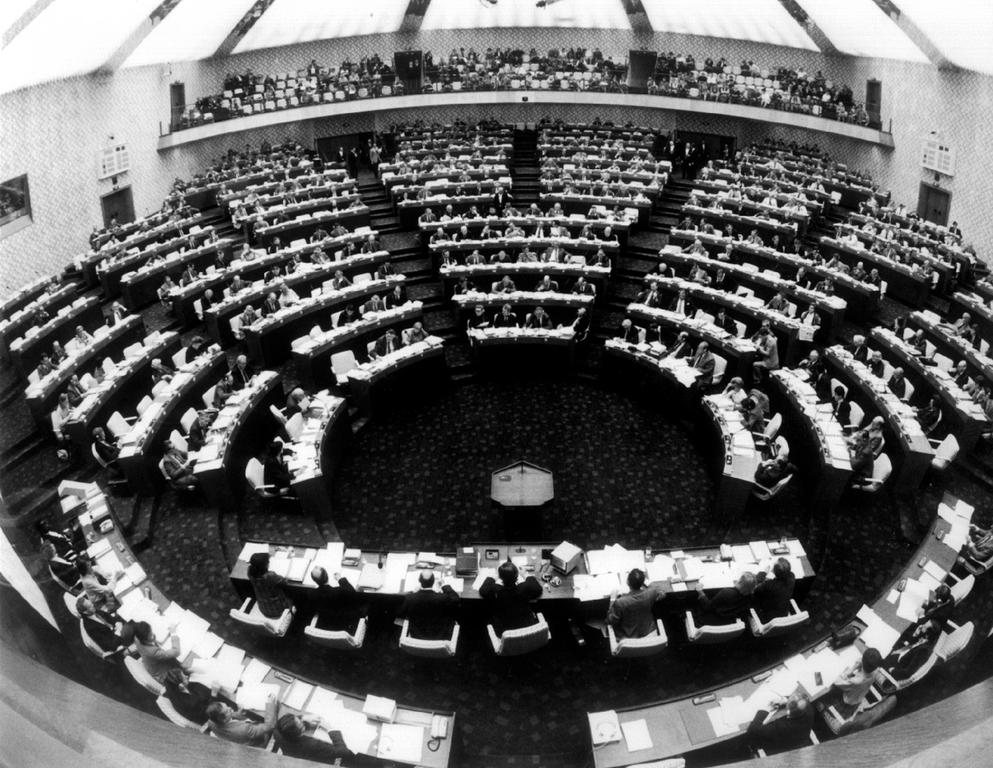View of the Hemicycle in Luxembourg during a plenary session (1980)
