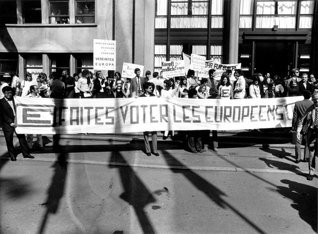 Demonstration for European elections by universal suffrage (Strasbourg, 1972)