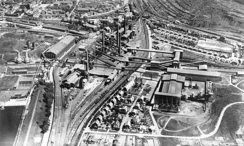 Aerial view of the ARBED steel works in Esch/Terres Rouges