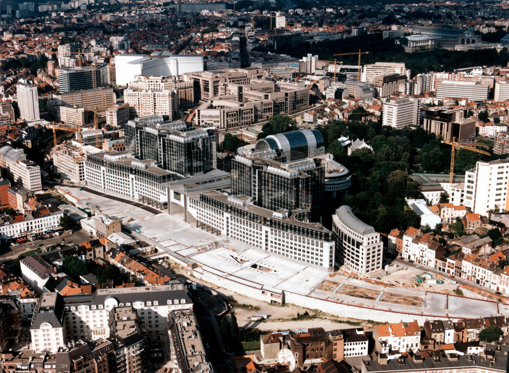 Aerial view of EU buildings in Brussels