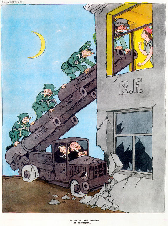 Cartoon by Bazhenov on German rearmament (10 May 1953)