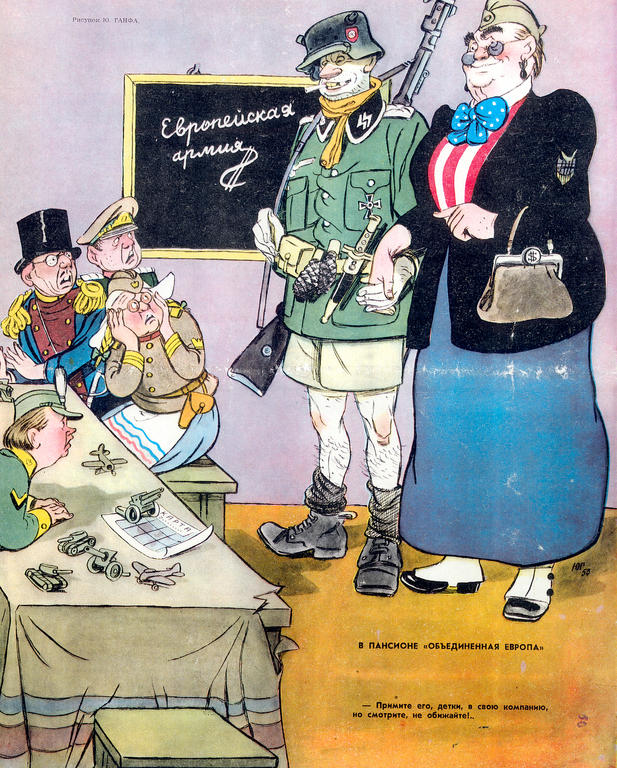 Cartoon by Ganf on the EDC (30 November 1953)