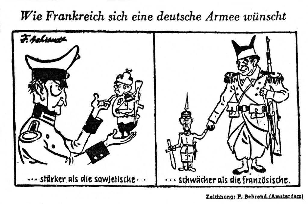 Cartoon by Behrendt on German rearmament (27 September 1954)