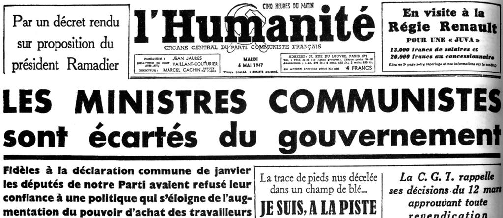 The front page of <i>L'Humanité</i> (6 May 1947)