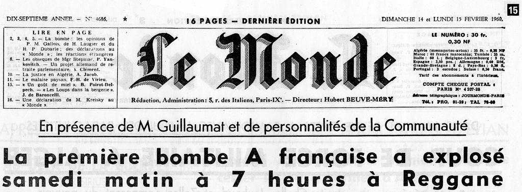 'The first French A-bomb exploded at 7 o'clock on Saturday morning in Reggane' — the front page of <i>Le Monde</i>