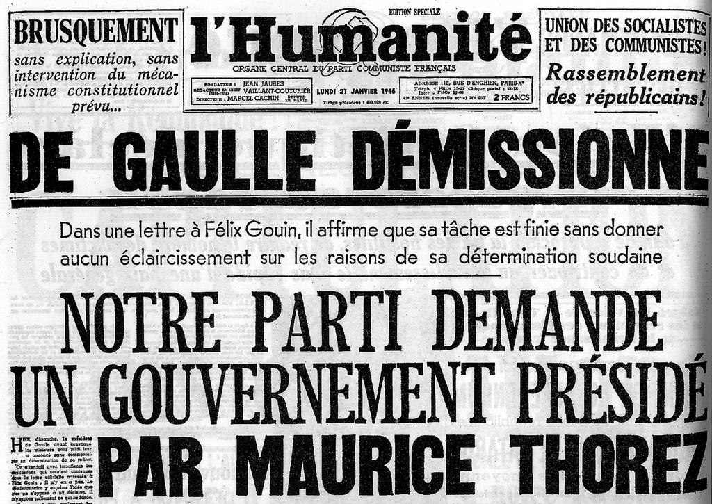 The front page of <i>L'Humanité</i> (20 January 1946)
