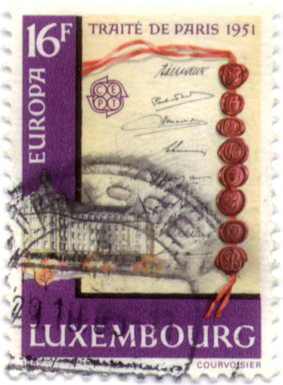 Luxembourg 16 franc stamp: the Treaty of Paris, 1951