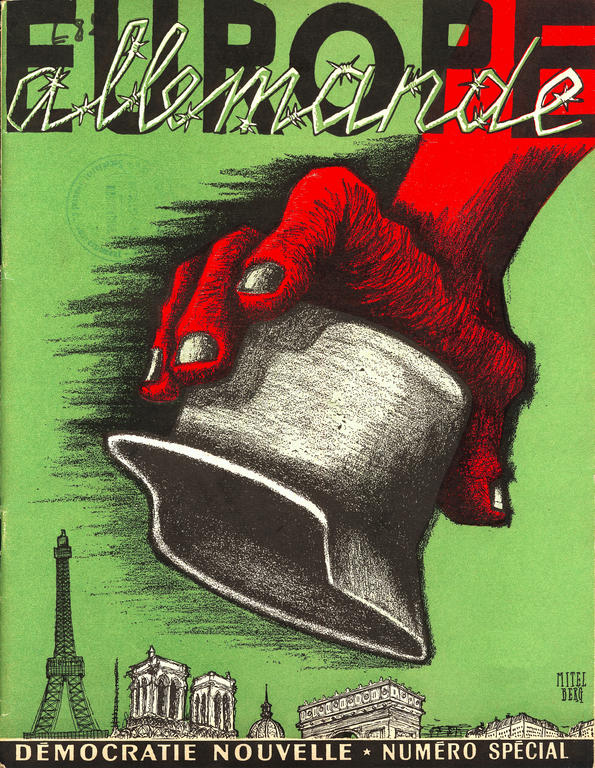 Cover of the French communist journal <i>Démocratie nouvelle</i> on the dangers of the EDC (December 1953)