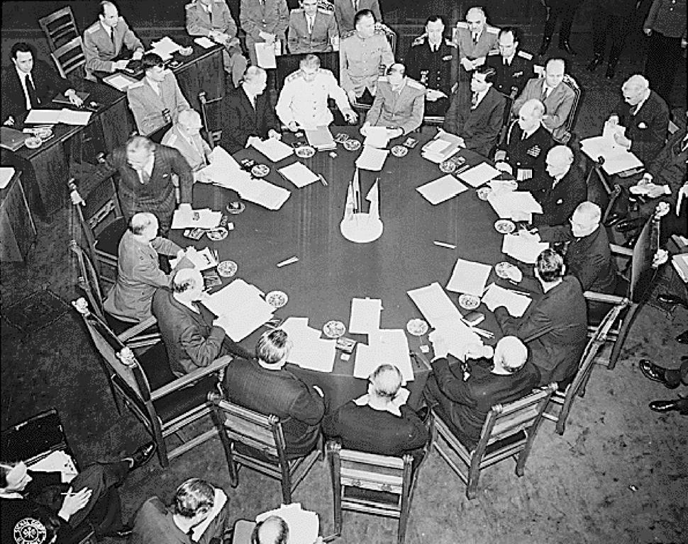 Conference table at the Potsdam Conference (17 July to 2 August 1945)