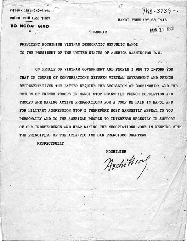 Letter from Ho Chi Minh to Harry S. Truman (28 February 1946)