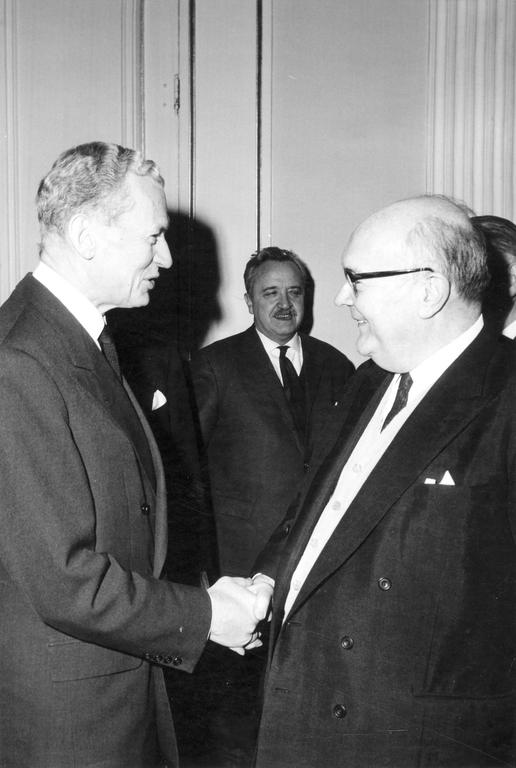 Maurice Couve de Murville at the extraordinary Council of the Communities in Luxembourg (18 January 1966)