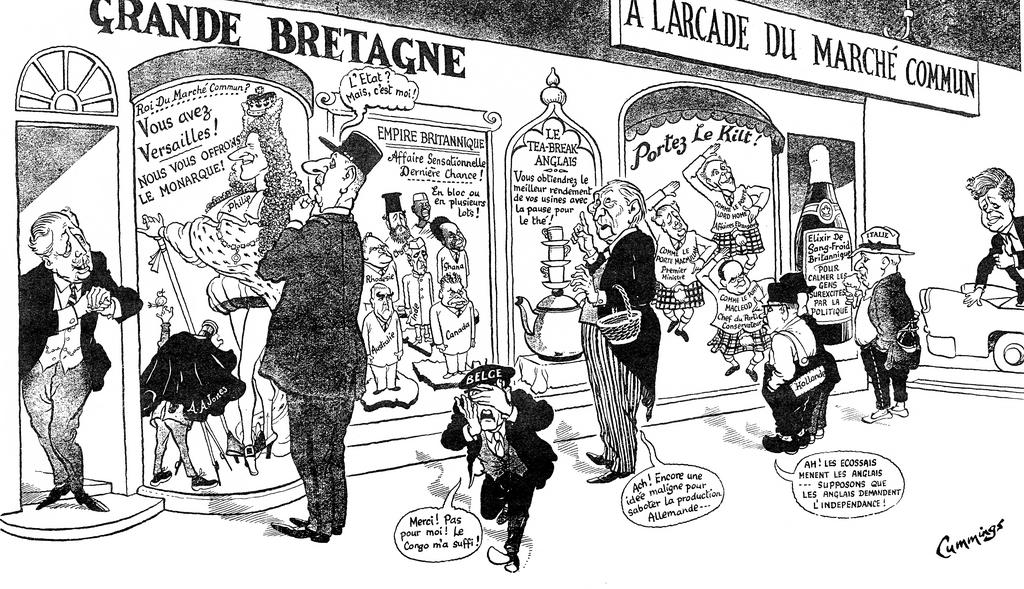Cartoon by Cummings on the United Kingdom's negotiations to join the EC (7 December 1961)