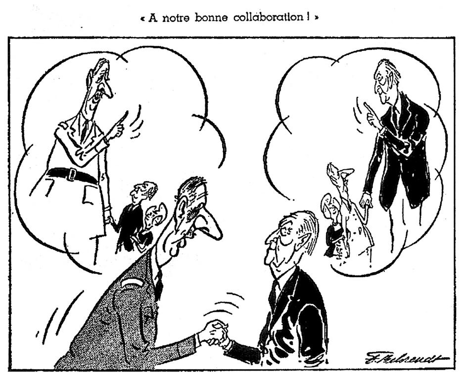 Cartoon by Behrendt on the Franco-German Treaty of Friendship (13 February 1963)