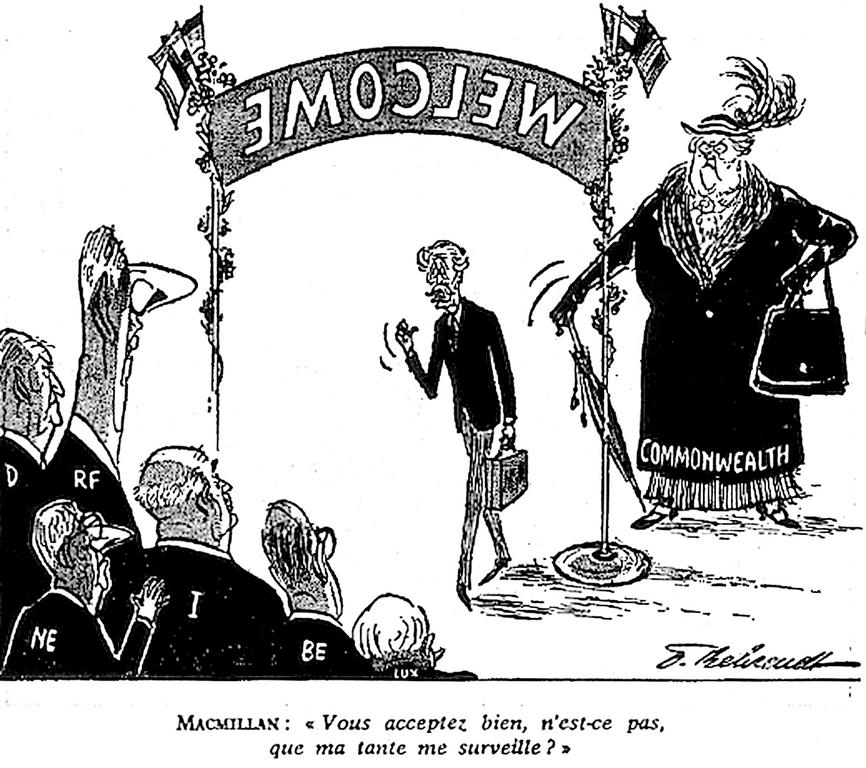 Cartoon by Behrendt on the United Kingdom's negotiations to join the EC (10 December 1961)