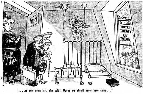 Cartoon by Cummings on the United Kingdom's accession to the EC (5 November 1962)