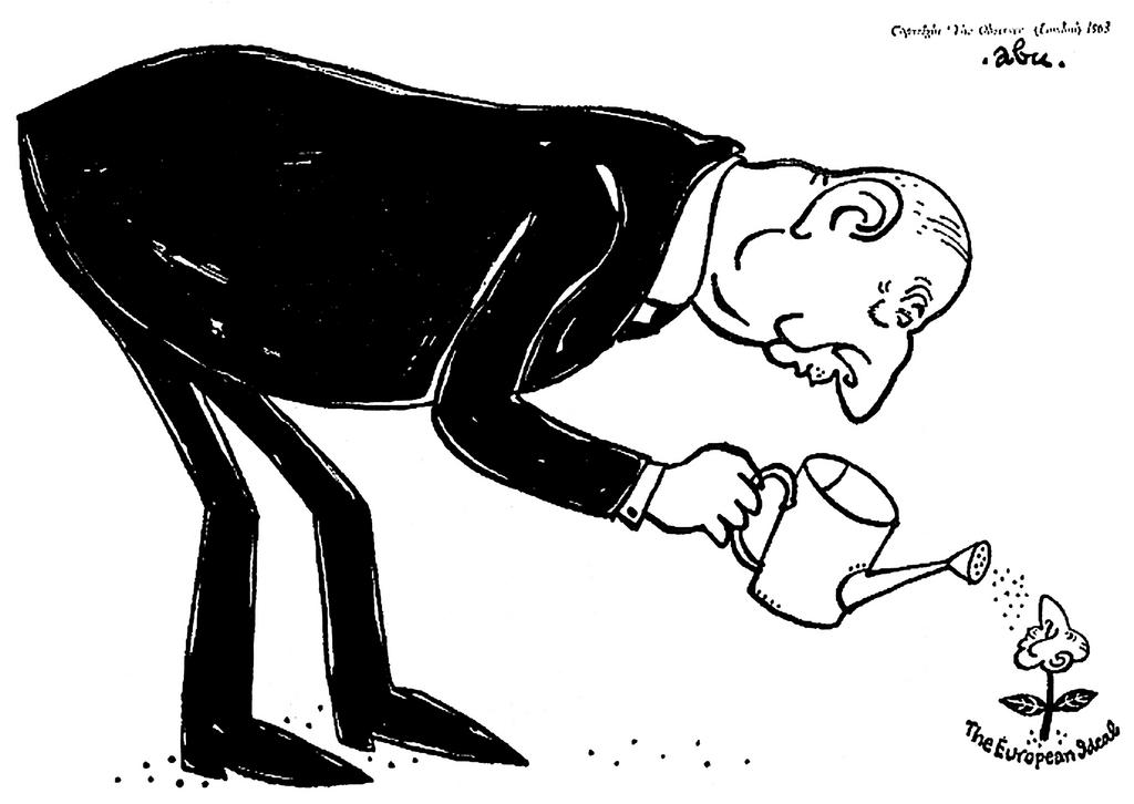 Cartoon by Abu on de Gaulle and the European ideal (20 January 1963)