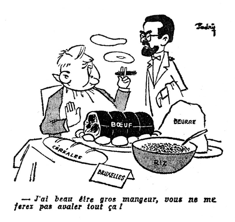 Cartoon by Padry on the FRG and the CAP (20 December 1963)