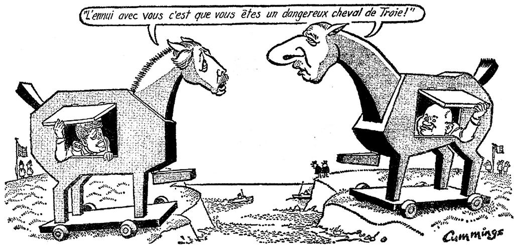 Cartoon by Cummings, published in the <i>Paris-Presse-l'Intransigeant</i> (8 February 1963)