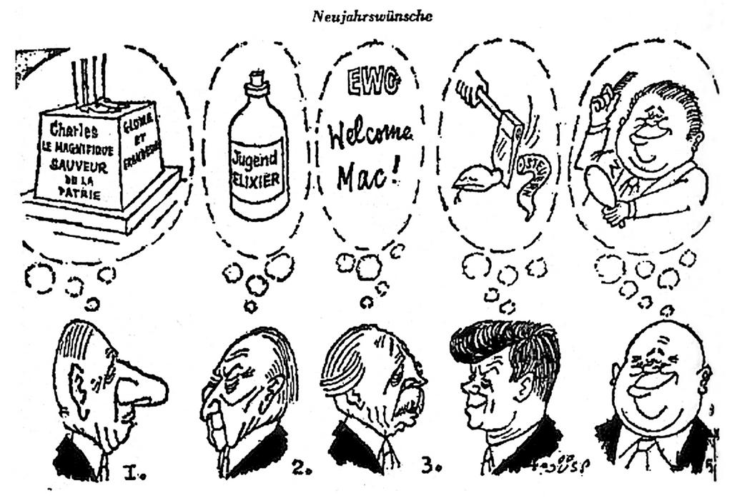 Cartoon by Jüsp on the British application to join the common market (30 November 1962)