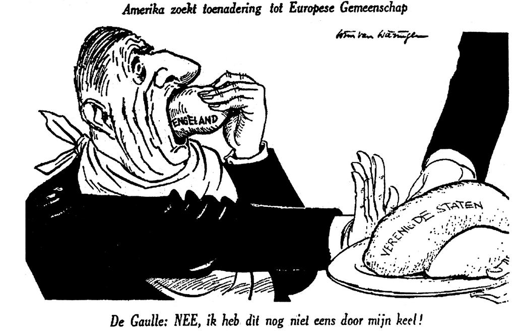Cartoon by Wierengen on relations between France and the United States of America (17 November 1961)