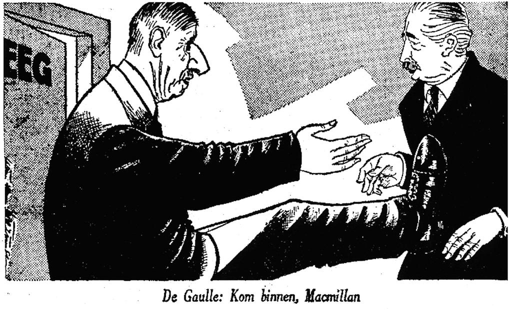 Cartoon by Wierengen on De Gaulle and the British application for membership to the EEC (5 August 1961)