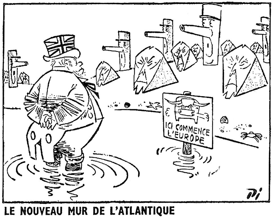 Cartoon by Pi on the Franco-German duo and the question of the United Kingdom's accession to the EEC (31 July 1959)