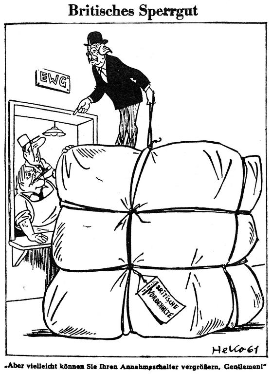 Cartoon by Heko on the negotiations regarding British accession to the EEC (4 October 1961)