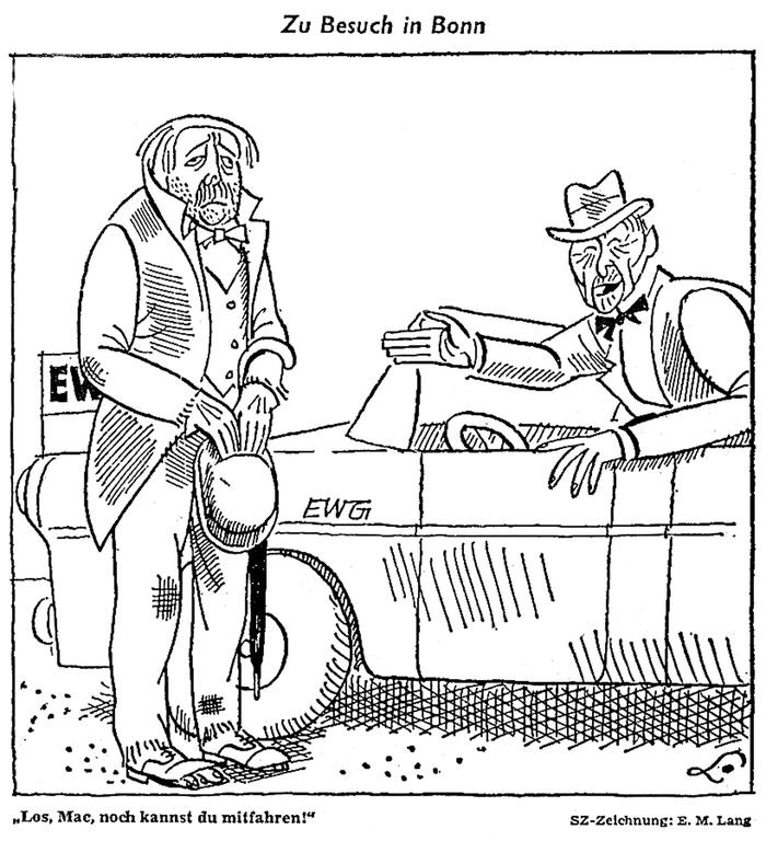 Cartoon by Lang on the United Kingdom's negotiations to join the EC (10 January 1962)