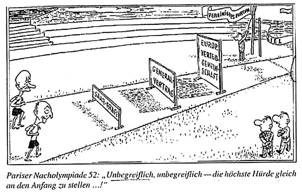 Cartoon on the resolution of the Franco-German problems (August 1952)