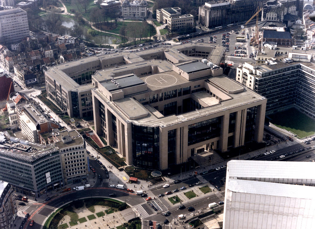Aerial view of the building (Justus Lipsius) of the Council of the European Union in Brussels