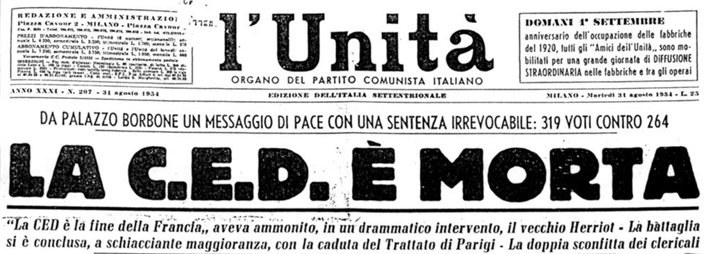 'The EDC is dead' — headline in the Italian Communist daily newspaper <i>L'Unità</i> (31 August 1954)