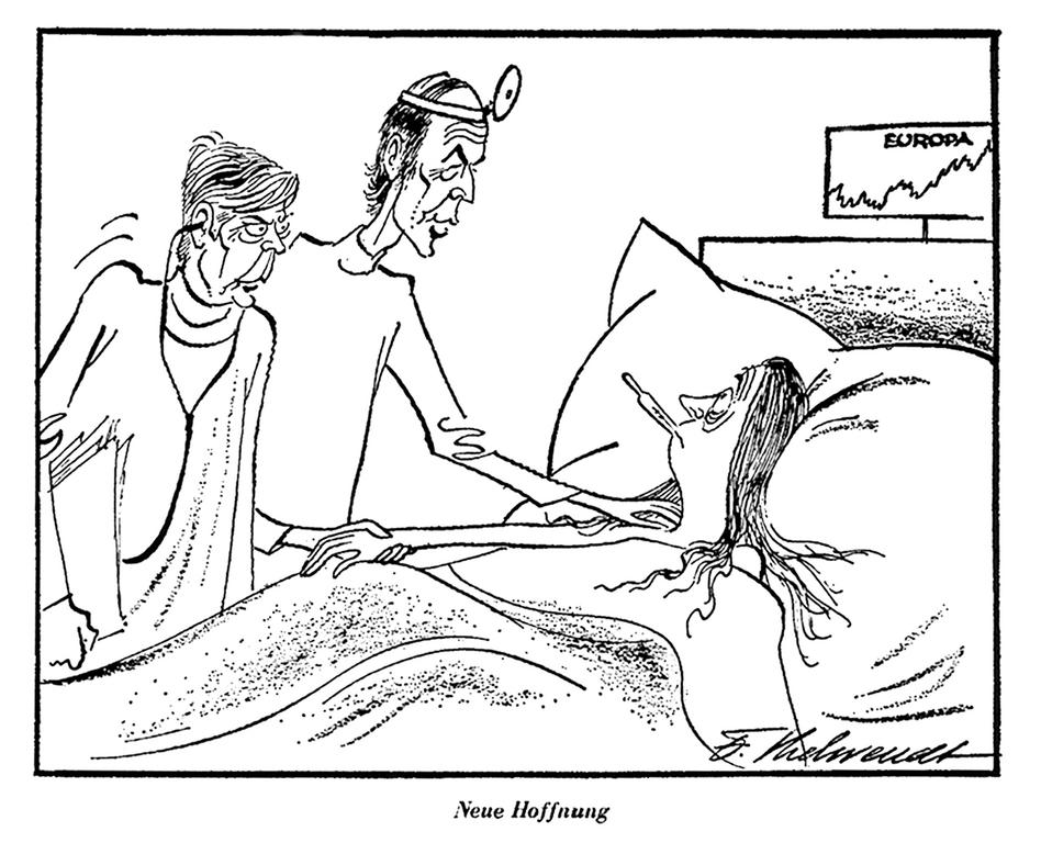Cartoon by Behrendt on the monetary crisis (29 May 1974)