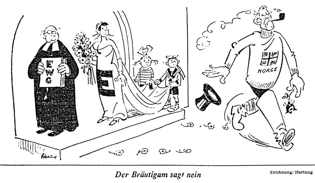 Cartoon by Hartung on the Norwegians' refusal to join the EC (27 September 1972)