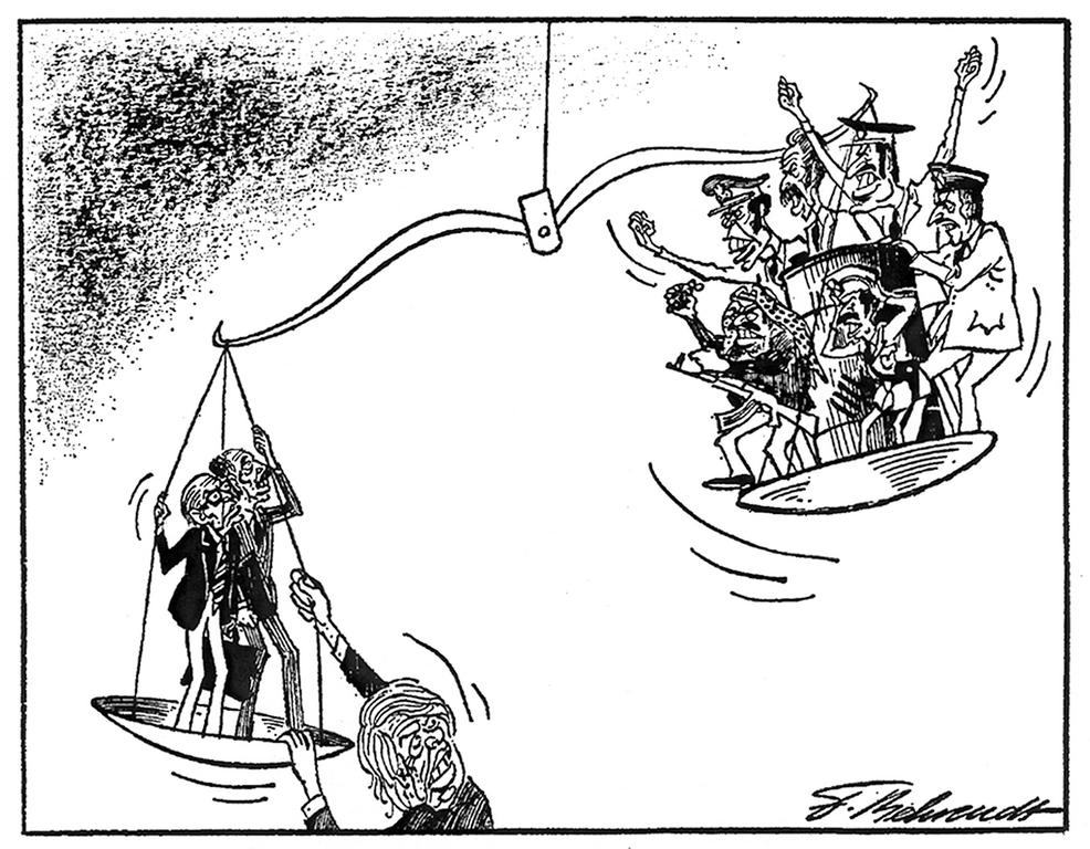 Cartoon by Behrendt on the Camp David Accords (28 September 1978)