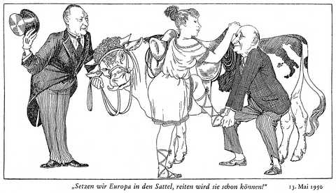 Cartoon by Meinhard on the Schuman Plan (13 May 1950)