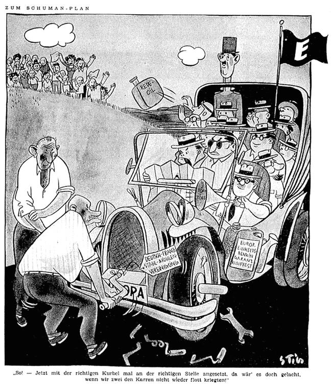 Cartoon by Stig on the role played by France and Germany in the success of the Schuman Plan (11 May 1950)