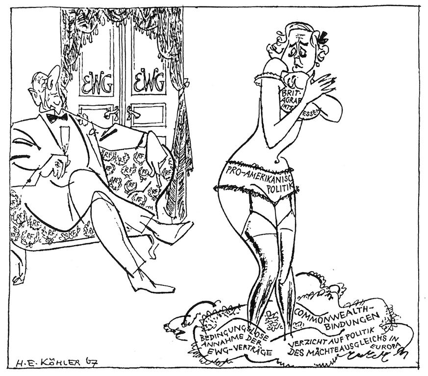 Cartoon by Köhler on General de Gaulle and the British application for accession to the EC (26 January 1967)