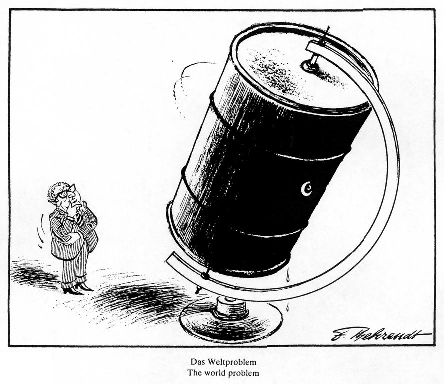 Cartoon by Behrendt on the oil crisis (1975)