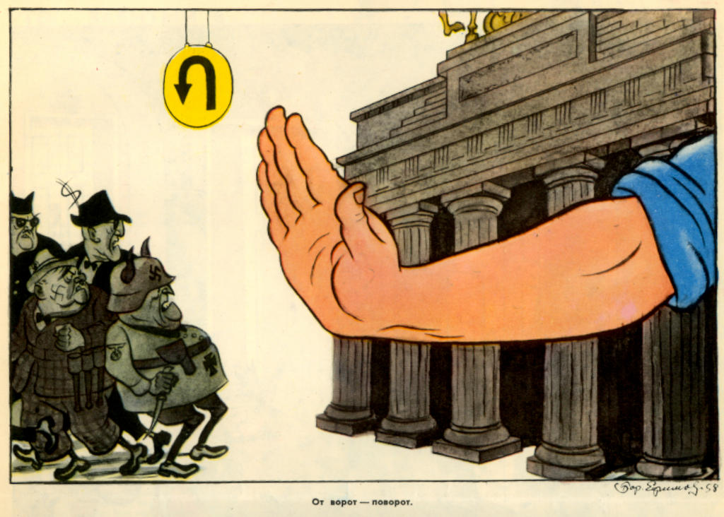Cartoon by Efimov on the Berlin Crisis (30 December 1958)