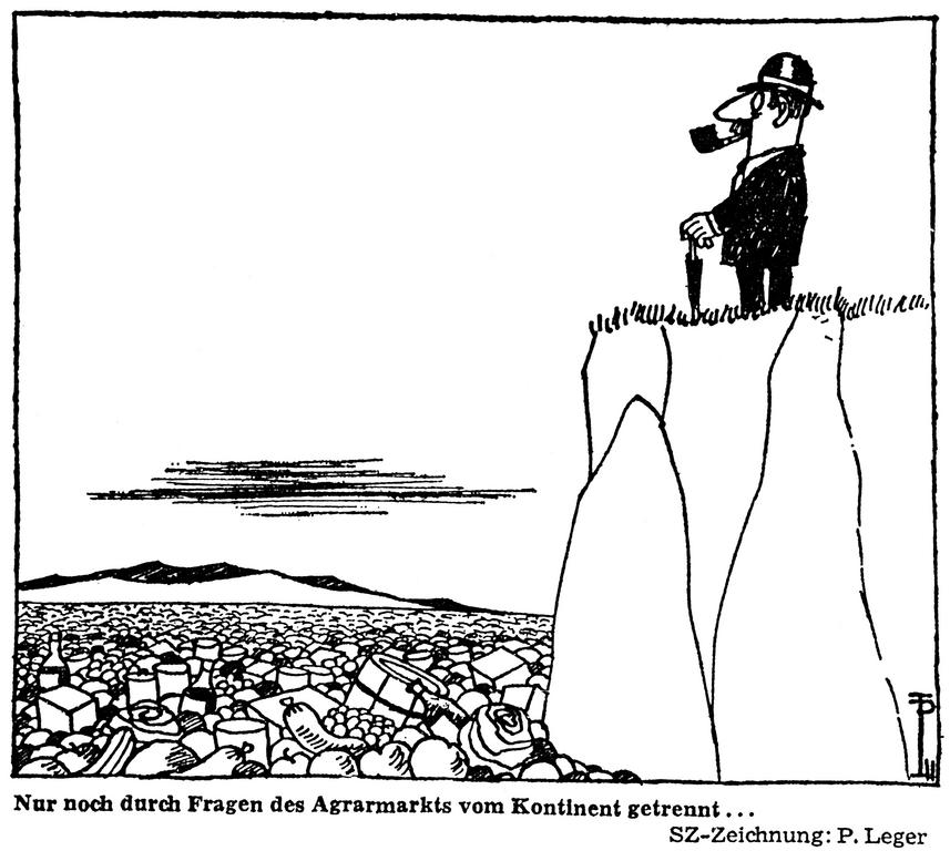 Cartoon by Leger on the implications of agriculture in the negotiations for UK accession to the EEC (24 July 1970)