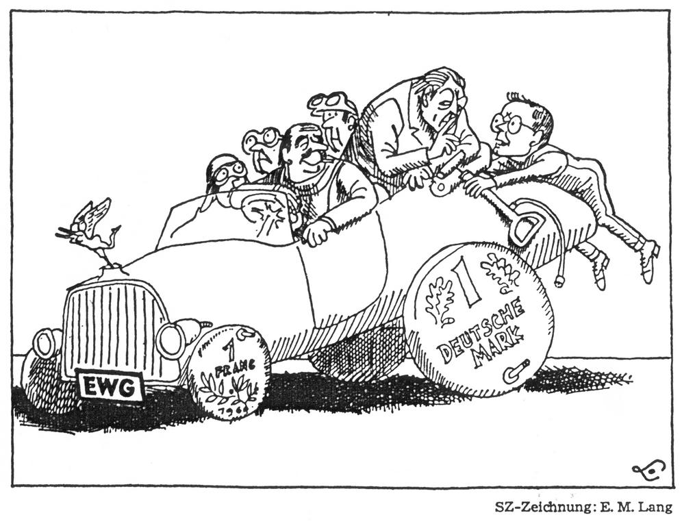 Cartoon by Lang on the monetary instability in Europe (13 August 1969)