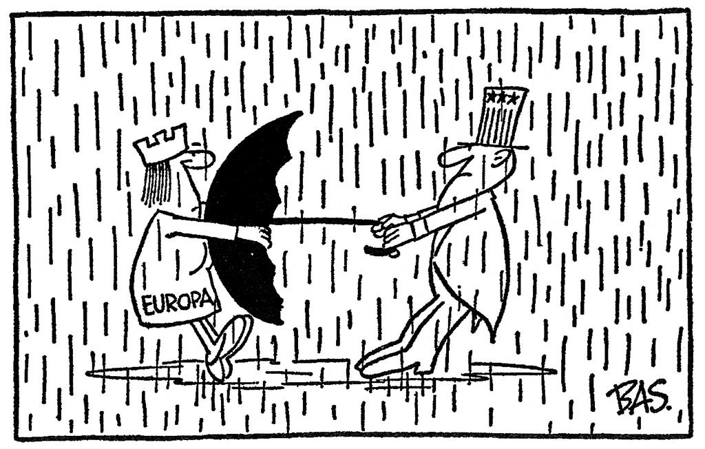 Cartoon by Bas on the relationship between the EEC and the United States (23 March 1974)