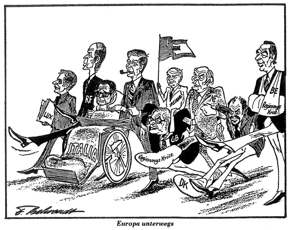 Cartoon by Behrendt on European unification (29 March 1977)